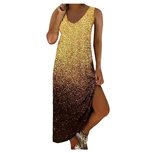 Damen Einfaches Kleider Basic Casual A-Linie Skaterkleid Freizeit Minikleid Fließendes Kleid ärmellos Weste Beiläufige Shirt Lose Rundhals Tunika Abendkleider(Gold,XL)