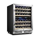 Karcassin Wine Cooler Refrigerator – Compressor Wine Bottle Chiller – 2 Compartment – Dual...
