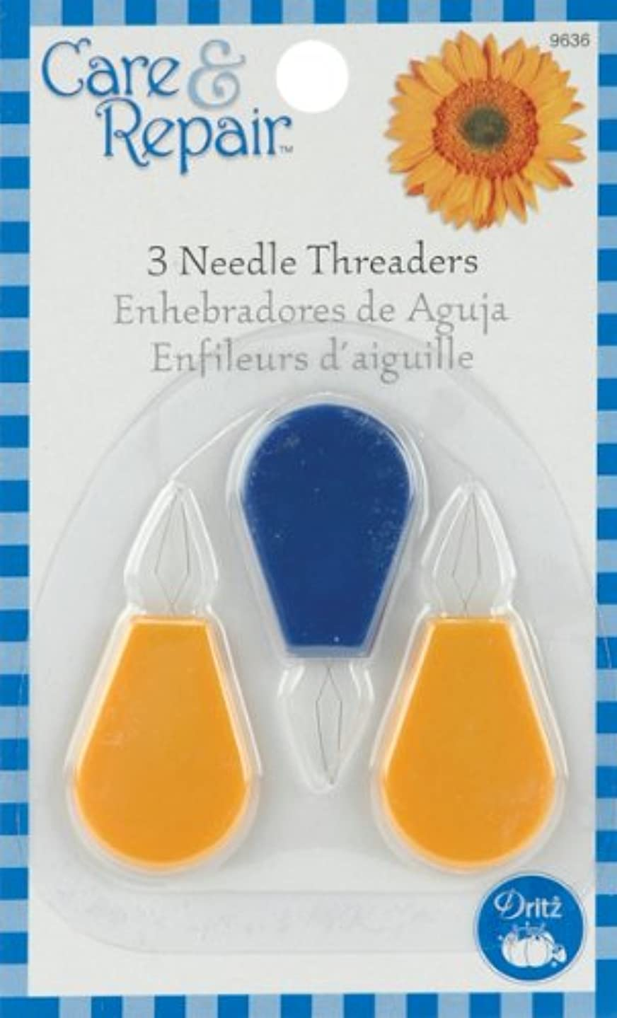 Dritz 9636D Plastic Needle Threaders, 3-Pack, Blue/Yellow