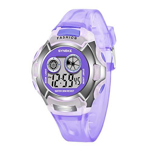 jieGorge New Sports Multifunctional Waterproof Luminous Watch Men's Digital Watch, Clock, for Easter Day (Purple)