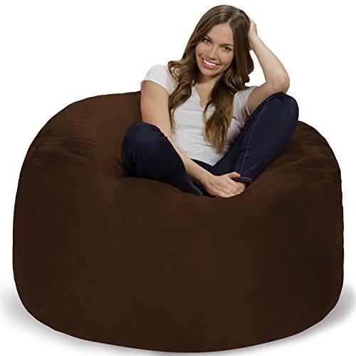 Chill Sack Bean Bag Chair: Giant 4' Memory Foam Furniture Bean Bag - Big Sofa with Soft Micro Fiber Cover - Chocolate