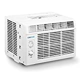 CHIONE 5,000 BTU Window Air Conditioner And Fan - Cools Up To 150 Sq.Ft, Has Mechanical Controls, A Reusable Filter, And Is Energy Efficient (115V, White)