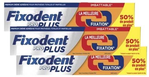 Fixodent Proplus Crème adhésive Duo Action Lot de 3 x 60grs