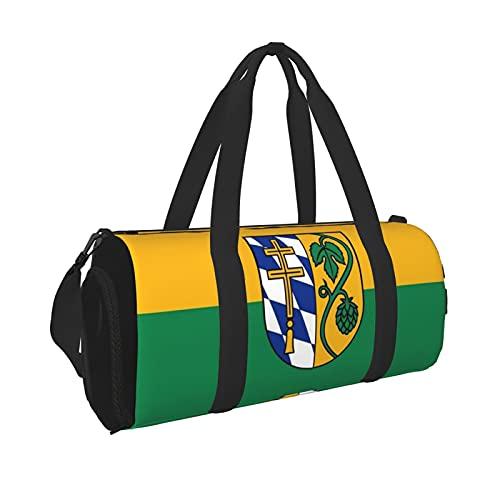 Flag Landkreis Pfaffenhofen An Der Ilm Gym Duffle Bag, With Shoe Compartment And Wet Pocket For Swim Sports Travel Gym Bag Gym Bag Small Duffel Bag Tote Gym Bag