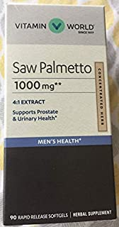 Vitamin World Saw Palmetto 1000 mg Supports Prostate & Urinary Health 90 Rapid Release softgels