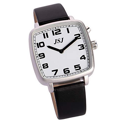 Reloj de pulsera cuadrado con función de despertador, función de voz, hora y fecha, esfera blanca, correa de piel negra TGSW-1704G