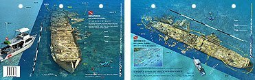 Innovative Scuba Concepts New Art to Media Underwater Waterproof 3D Dive Site Map - Benwood in Key Largo, Florida (8.5 x 5.5 Inches) (21.6 x 15cm)