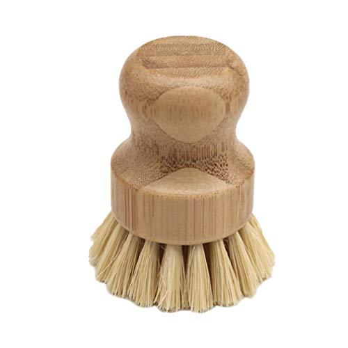 POO Cepillo de Limpieza de cáñamo de sisal Cepillo de Madera de Mango Corto para Fregar Vegetales Cepillo Redondo Amarillo