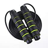 Skipping Rope No Wrap With Ball Hearing Fast Jump Rope Cable And 6' Memory Foam Handle Is Ideal for Aerobics, Such As Speed Training, Endurance Training And Fitness, Gym, Slimming (Green+Weight)