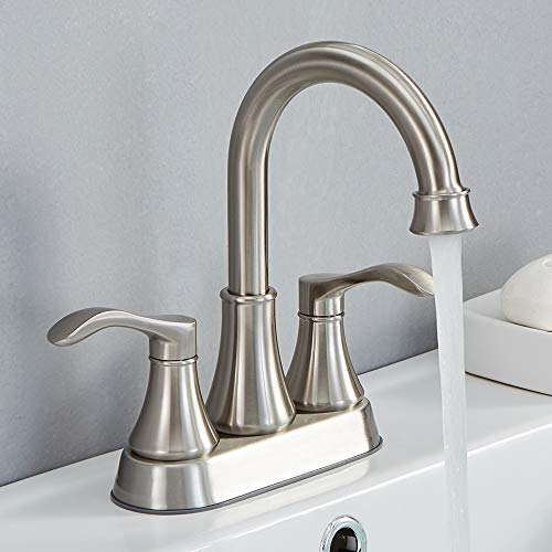 Review VALISY Two Handles Stainless Steel Brushed Nickel Bathroom Sink Faucet, Bathroom Faucets with...