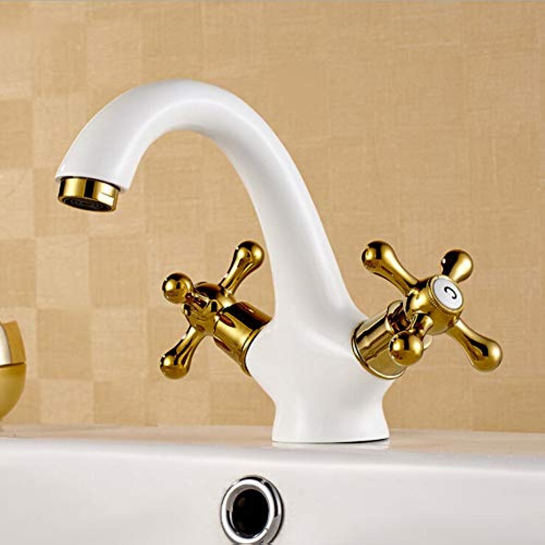 YHSGY Waschtischarmaturen New Basin Faucet Weiß Plating Brass Gold Double Hands Hot And Cold Luxury Elegant Bathroom Faucet Toilet Sink Water