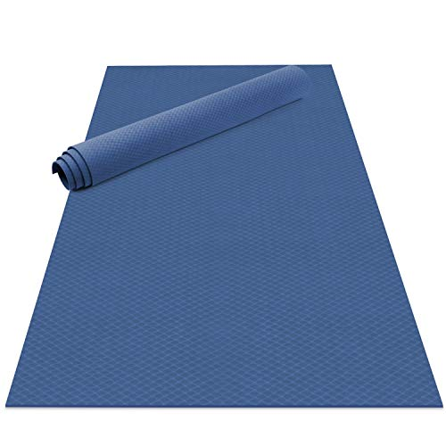 Odoland Esterilla de Yoga Grande 200 x 100 x 0.6 cm, Alfombrilla Deporte 6mm Grueso de Ecológico TPE, Antideslizante, Colchoneta de Pilates, Estiramientos, Gimnasia en Casa o en Gimnasio, Azul