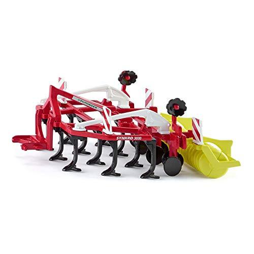 SIKU 2067, Pöttinger Grubber Synkro Bodenbearbeitungsgerät, 1:32, Metall/Plastik, Rot, Drehbare Packerwalze