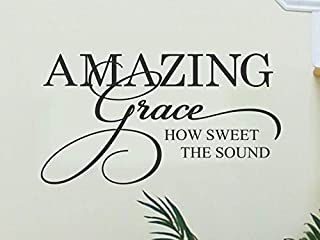Amazing Grace Wall Decal - Christian Home Decor - Religious Wall Decal - Baby Nursery Decor - Family Wall Decal - Stenver Decals(Bkm1)