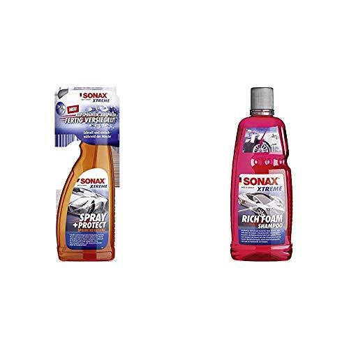 SONAX 2434000 Xtreme Spray+Protect Sprüh-Versiegelung 750ml & Xtreme RichFoam Shampoo (1 Liter) Schaum-Shampoo/Snow Foam Shampoo erzeugt dichten & schmutzlösenden Schaumteppich, ph-neutral