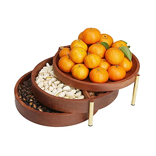 BERTY·PUYI Cuenco De Nueces Plato para Servir Nueces De Madera Multicapa Bandejas para Servir Frutas Secas Creativas De 3 Capas Caja Giratoria De Frutas Secas-Brown||21 * 18.5 * 11cm