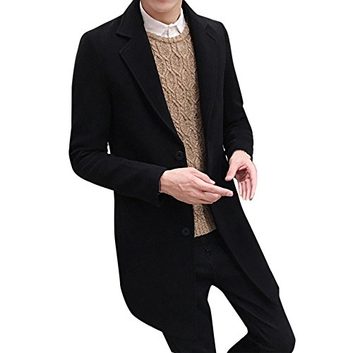 Toimothcn Men Single Breasted Pea Coat Formal Business Blazer Suit Long Jacket Outwear (Black,XL)