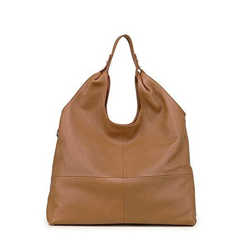 Beylasita Damen Ledertasche Handtasche große Schultertasche aus weichem echtem Leder Hobo Beuteltasche Tote Shopper (Braun)