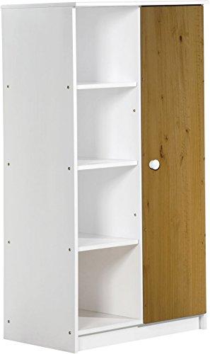 Design Vicenza 'Avola Una Porta Armadio, in Legno, Colore: Bianco con Dettagli in Legno di Pino Anticato