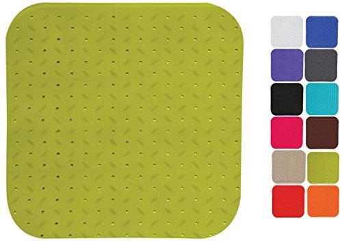 MSV Premium Duschmatte Badematte Badewannenmatte Badewanneneinlage antibakteriell rutschfest mit Saugnäpfen - Grün - duftet nach Rosen - ca. 54 x 54 cm - waschbar bei 60° Grad