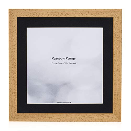 Bolding Framing - Oak, Square Thin Photo Frame in Solid Wood with Black Wall Mount, 40x40cm- Pic Size 30x30cm