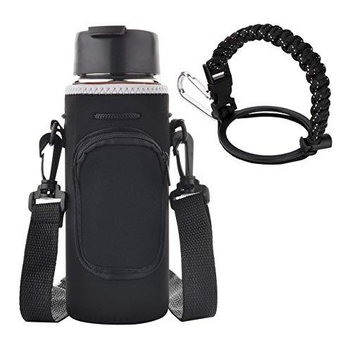 CM Wasserflaschenträger, Neopren, tragbar, isoliert, Flaschenhalter, Kordelzug, Isolator, Hülle, Tasche, mit verstellbarem Schultergurt und Paracord-Flachmann-Griffband für breite Trinkflaschen