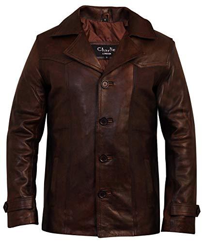 Charlie LONDON, giacca da uomo, stile vintage, in pelle, di colore marrone Brown X-Small