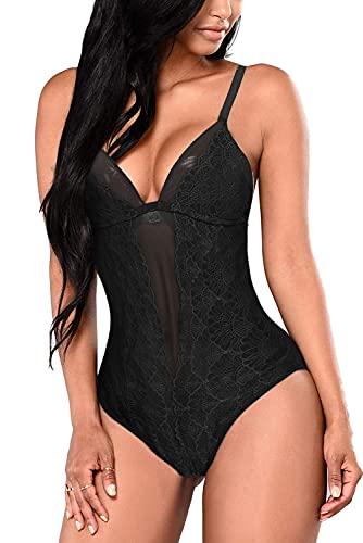 EVELIFE Mujer Erótica Ropa Interior Apretada Malla Body Elástico Mallas Encaje Floral Translúcido(Negro M)