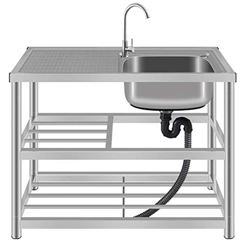 KAISIMYS Fregadero de Cocina Comercial, un Solo tazón de Acero Inoxidable 201, Lavabo Independiente del Piso de la Plataforma del colador, 360 & deg;Grifo Giratorio de Agua Caliente y fría