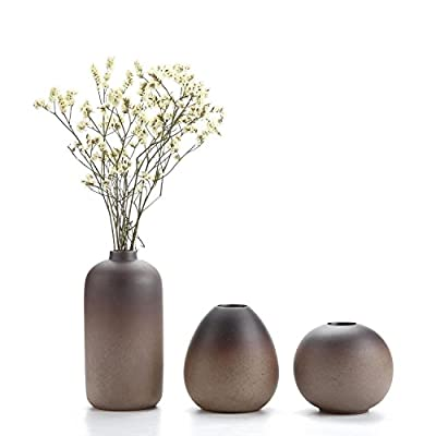 Small Ceramic Flower Vase Set of 3, Modern Style Simple Design Metallic Gradually Varied Brown Color Elegant Home Office Living Room Table Desk Decoration for Wedding New Home Visit