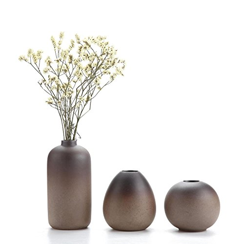 T4U ComSaf Style Antique Ensembles de Vases en Céramique Décoration d'intérieur Cadeau Idéal Pour le Mariage Vase à Plantes Hydroponiques Pots de Fleurs paquet de 3