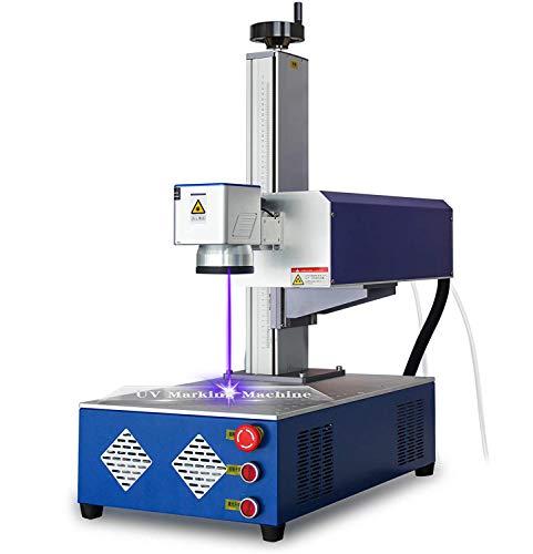 Machine de gravure laser en verre UV pour nylon/cuir/surface métallique/bois 220 V avec refroidisseur d'eau 5000 W (3 W 110 x 110 mm 220 V)