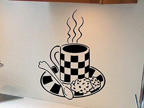 Koffiebeker Muursticker Koffiebeker met lepel en koekjes Keuken Muursticker Koffie beker Sticker Keuken Eettafel Muurdecoratie 7.5