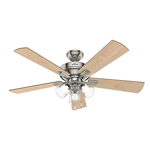 "Hunter Crestfield Indoor Ceiling Fan with LED Lights and Pull Chain Control, 52"", Brushed Nickel"