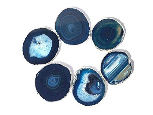 JIC Gem Silver Plated Dyed Blue Agate Coasters, 6 pcs set, 3-4
