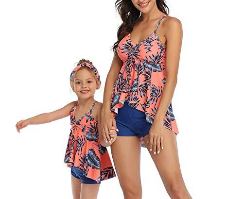 Traje de baño de una Pieza Gato de la Familia, Familia Madre e Hija Bikinis Traje de baño natación Verano, bañador Floral para Mujer y 3-6 años niña (Rosa, 5-6-niña)