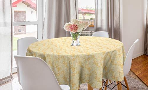 ABAKUHAUS Abstrakt Runde Tischdecke, Pastell Paisley-Muster-Kunst, Kreis Tischdecke Abdeckung für Esszimmer Küche Dekoration, 150 cm, Blasse Pfirsich-persische orange