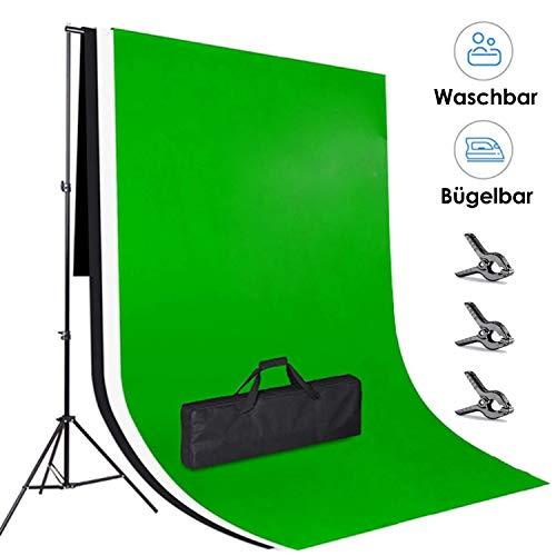 amzdeal 3×2m Hintergrund Ständer-Support-System, 3pcs 3×2m Waschbar Bügelbar Hintergrund Grün / Weiß / Schwarz Stativ Einstellbar von 65-200cm Hintergründe