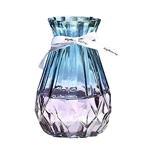 CUTICATE Estilo nordico Transparente Minimalista Hidroponia Floreros de Vidrio Arreglo Floral Decoracion Creativa para el gabinete de Bar Mesa de Comedor (Azul Degradado)
