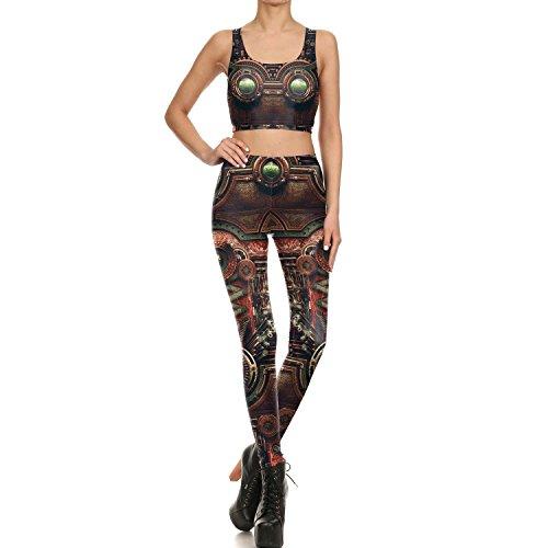 RZL Pantalones de Fitness y Gimnasio, 3D Impreso Leggins Medias Yoga Pant for la Mujer, Nuevo diseño del Robot Brown Totem Hebilla Partes de Relojes Polainas Atractivas misteriosos, Fitness Deportivo