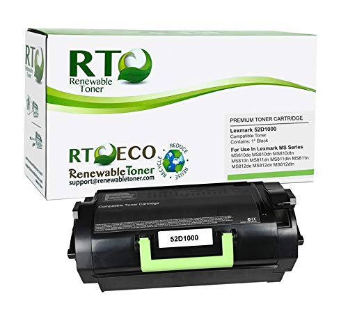Renewable Toner Compatible Toner Cartridge Replacement for Lexmark 521 52D1000 MS Series MS810 MS811 MS812