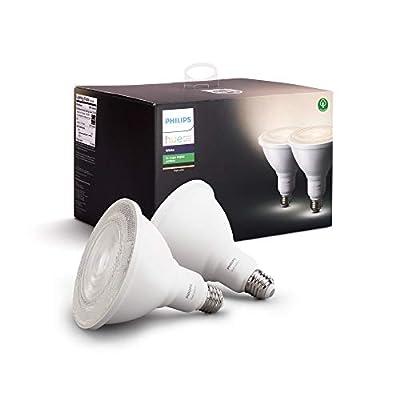 Philips Hue White Outdoor PAR38 13W Smart Bulbs (Philips Hue Hub required), 2 White PAR38 LED Smart Bulbs, Works with Alexa, Apple HomeKit and Google Assistant (Renewed)