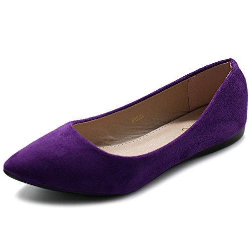 Ollio Women's Ballet Comfort Light Faux Suede Multi Color Shoe Flat ZM1038(8.5 B(M) US, Purple)