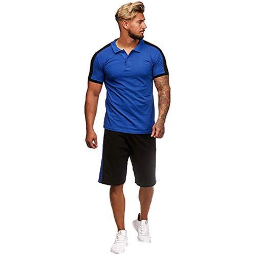 CICIYONER Trainingsanzug Herren Jogginganzug Muscle Sweatshirt + Hosen Sport Tarnung Tankshirt Sets Sportkleidung Männer Fitness Bodybuilding M-XXXL (L, Dunkelblau)