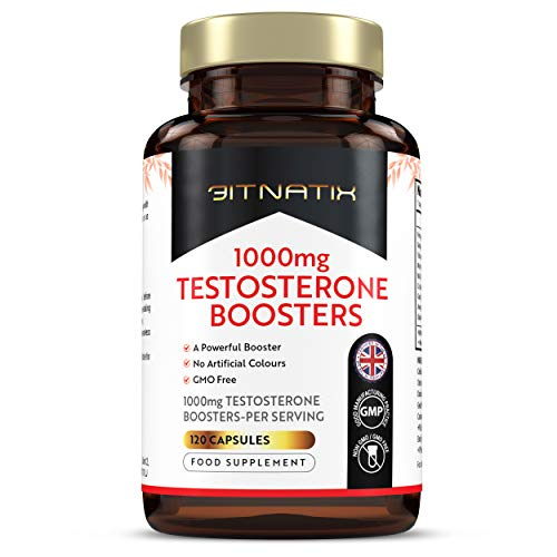 Testosterone Boosters | Supplement for Men's Health | 120 1000mg Capsules | 4 Month Supply | Helps Tiredness | No Artificial Colours | GMP Approved | GMO Free - Made in UK