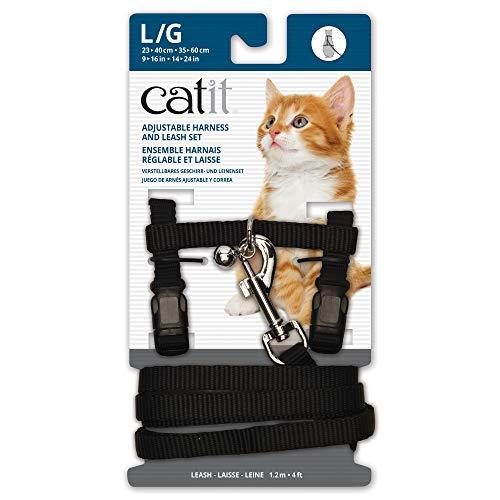 Catit Nylon Adjustable Cat Harness and Leash Set, Large, Black