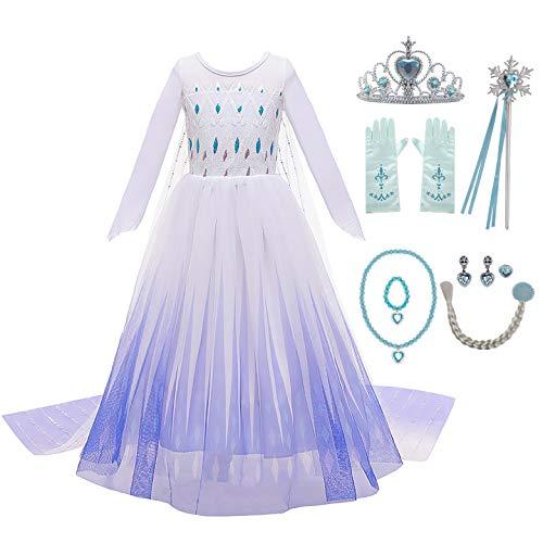 KABETY Vestido de fiesta de princesa de nieve para nia con accesorios