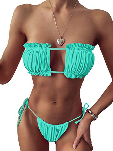 BIKINX Women's Sexy Bandeau Thong Green Bikini setTie Side Bottom Two Piece Swimsuit Bathing Suit