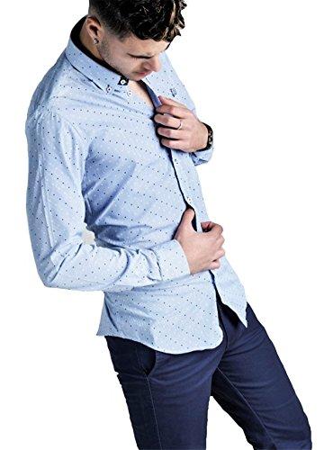 Ridebike New Model | Camisa Azul con topitos Blancos y Azules La Vespa | Custom Fit | Diseño del Puño a Juego con el Cuello (M)