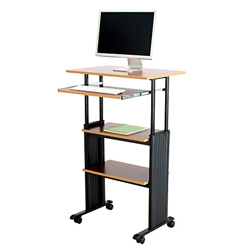 Safco Products Muv 3549quotH StandUp Desk Adjustable Height Computer Workstation with Keyboard Shelf Cherry